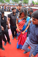 Puja Hegde looks stunning in Red saree at launch of Anutex shopping mall ~ Celebrities Galleries 147.JPG