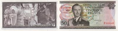 Luxemburgo: Billete de 50 francos de Luxemburgo, de 1972