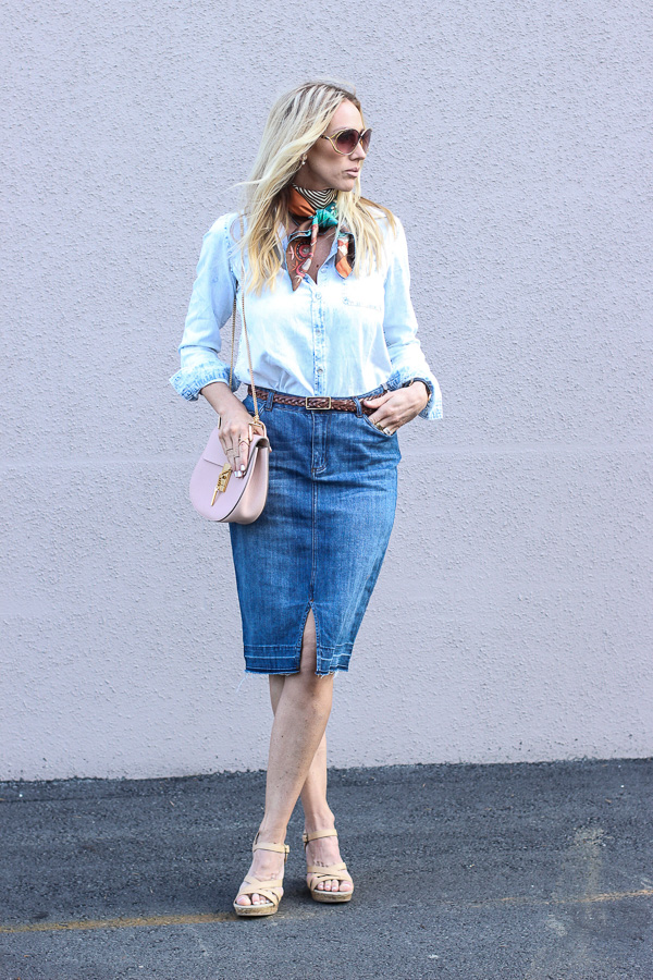 denim pencil skirt chambray top hermes scarf saddle bag parlor girl