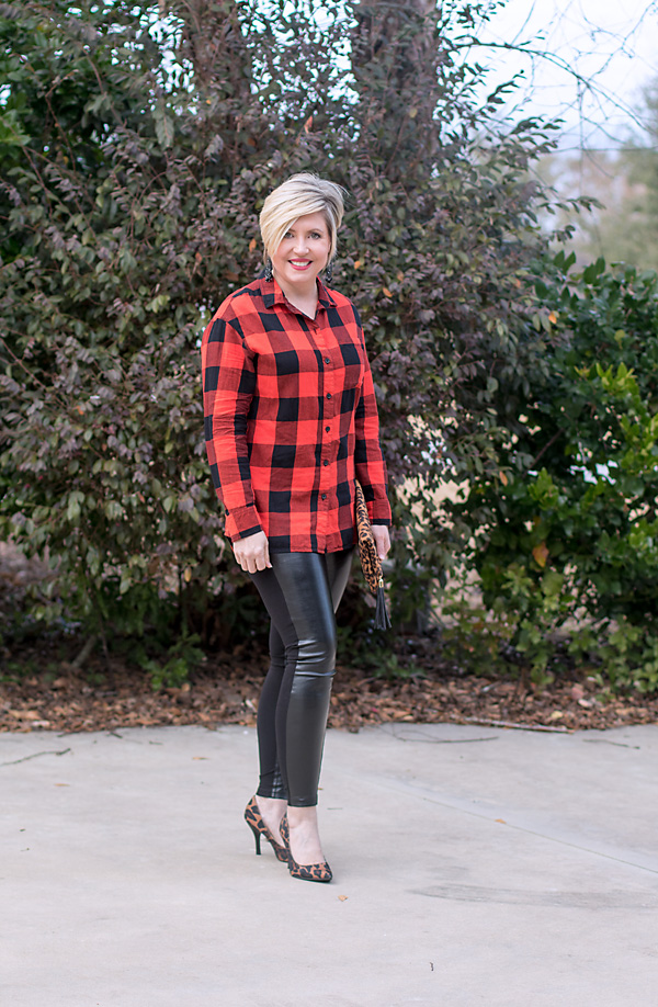 leopard pumps buffalo plaid shirt