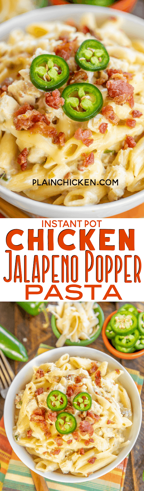 Instant Pot Chicken Jalapeño Popper Pasta - creamy chicken pasta loaded with bacon, jalapeños and pepper jack cheese! Seriously delicious! 4 minutes of cook time. We ate this two days in a row. Chicken, jalapeños, bacon, garlic, onion, chicken broth, water, cream cheese, penne pasta and pepper jack cheese. Everyone cleaned their plate! Even our picky eaters!! #chicken #InstantPot #pasta