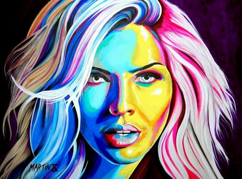 Cuadros pinturas oleos hermosas chicas en cuadros - Cuadros modernos con mucho color ...