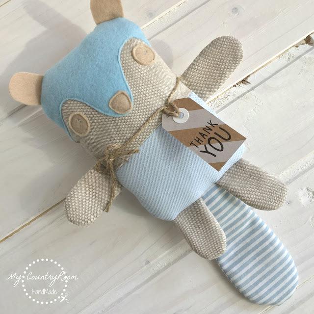 Sonaglio neonato volpe cucito a mano