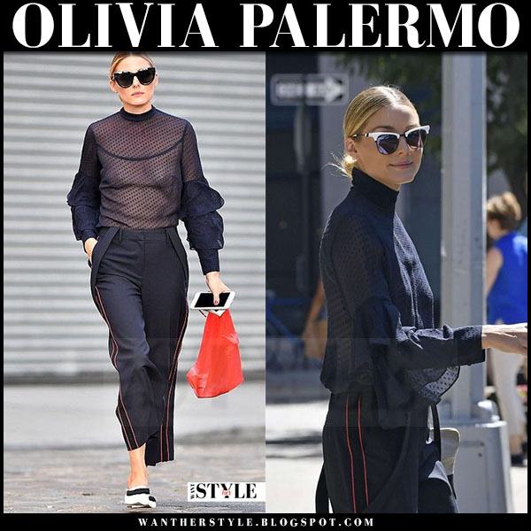 Olivia Palermo in sheer blue chelsea28 blouse, blue cropped pants and white flats jimmy choo gala what she wore