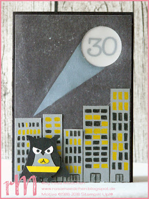 Stampin' Up! rosa Mädchen Kulmbach: LED Batman Karte zum 30. Geburtstag mit Eulenstanze