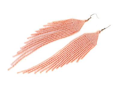 длинные серьги в стиле бохо купить украшения из бисера нежно розовые