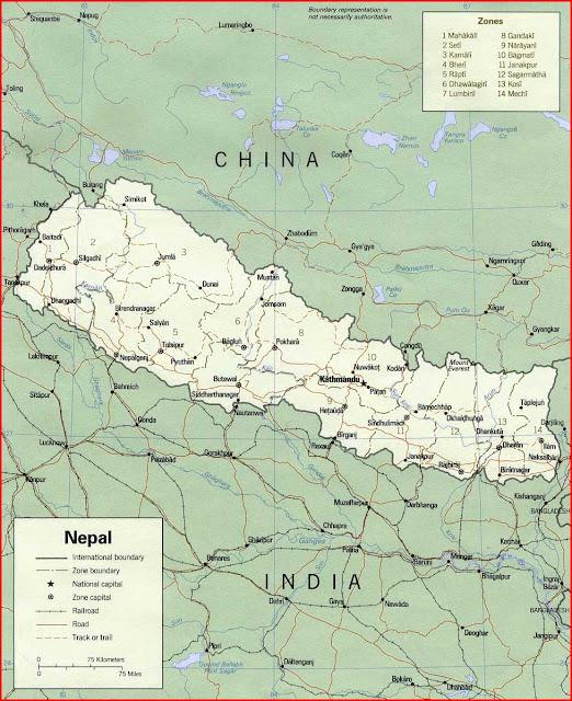 Gambar Peta politik Nepal 1990