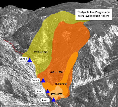 Thirtymile fire progression map