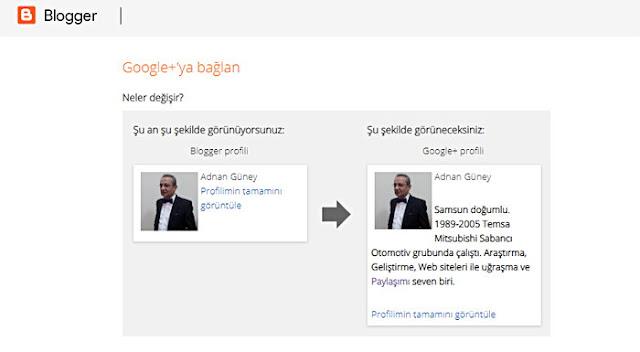 Blogger ve Google-Plus Profil değişimi öncesi ve sonrası: