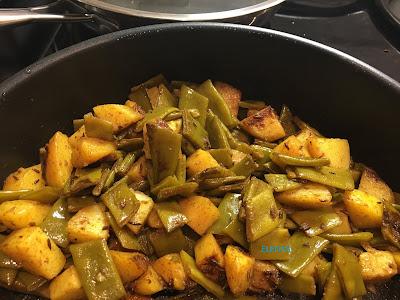 Ångade skärbönor med ångad potatis/Sem Aloo ki sabzi/Indisk