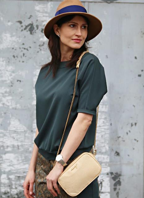 green look, kapelusze, streetstyle, myBag, tressore, novamoda stylizacje, Novamoda streetstyle, green and gold