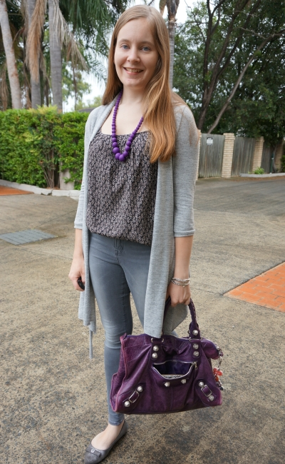 groutfit: grey outfit rainy day style with purple accessories balenciaga work bag | awayfromblue