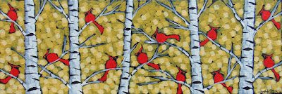 Cardinals on gold painting by artist aaron kloss, painting of cardinals, painting of tiny cardinals, pointillism, aaron kloss, duluth artist, duluth gallery, birch cardinal, gold, northern mn