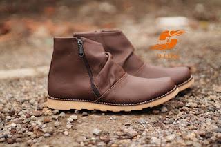 D-Island Shoes Slip On Zipper Comfort Boots Brown