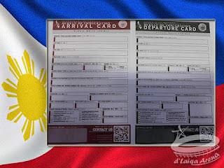 Kartu Kedatangan-Keberangkatan (Arrival-Departure Card) Filipina
