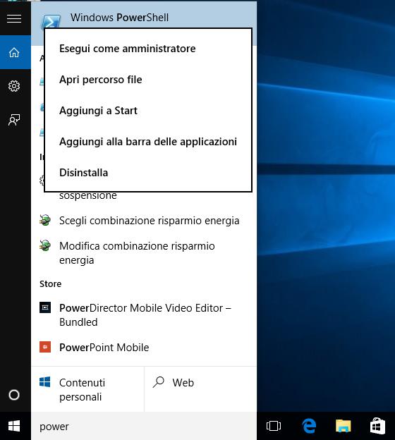 Windows 10: Avviare PowerShell come amministratore