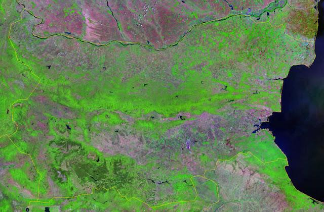 Gambar Peta negara Bulgaria tampak dari satelit
