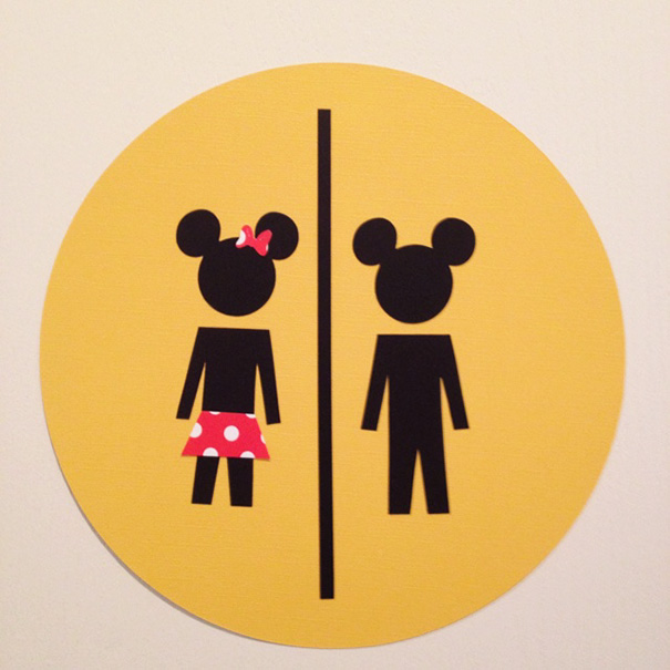 20+ Of The Most Creative Bathroom Signs Ever - Mickey Mouse Bathroom Sign