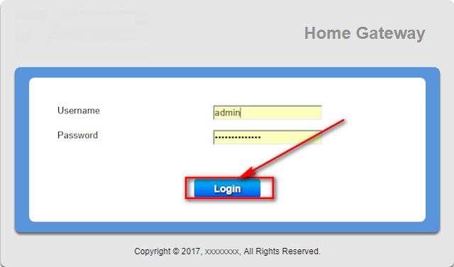 Cửa sổ đăng nhập trang chính modem GPON FPT