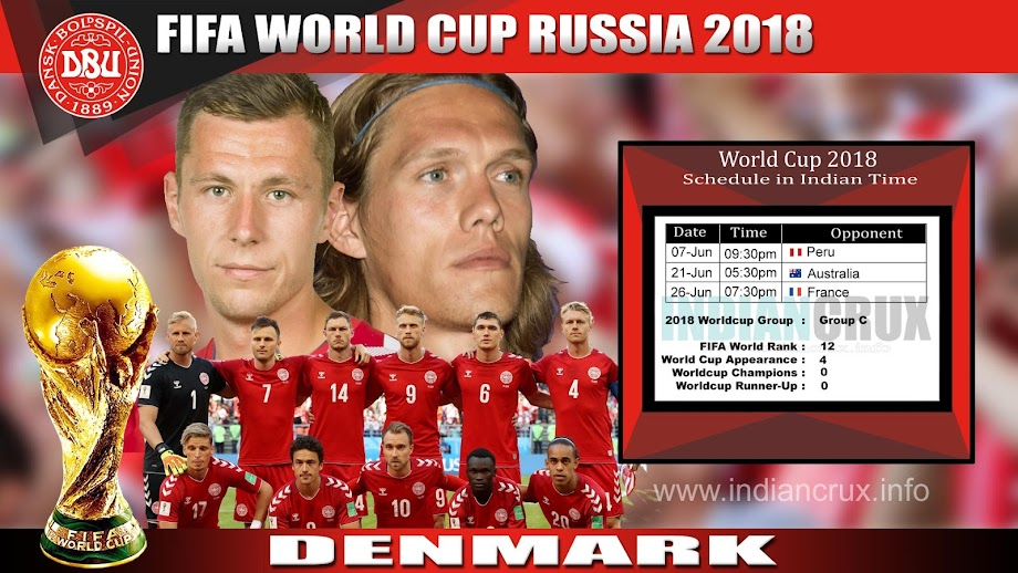 Denmark Team Schedule (Downloadable) at 2018 FIFA World Cup