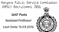 HPSC Recruitment 2016 - Apply Online 1647 Assistant Professor Vacancies