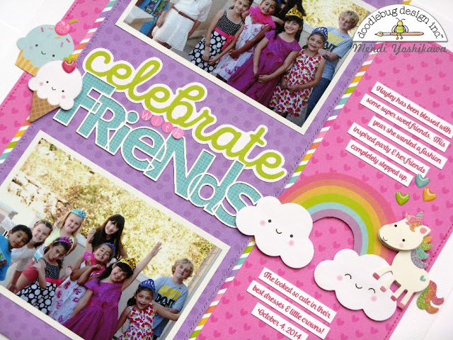 Doodlebug Design Fairy Tales Girls Birthday Scrapbook Layout by Mendi Yoshikawa