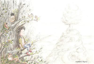 cooper, crayons gris, paysage,