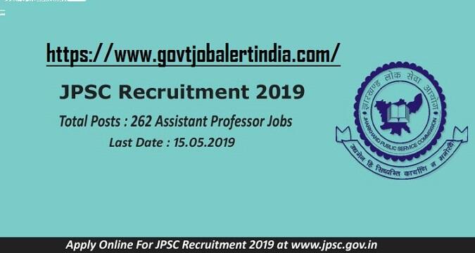 JPSC Recruitment (2019) - 262 Vacancies for Assistant Professor