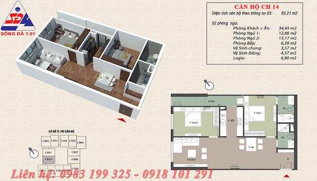 Thiết kế chung cư EcoGreen số 1 Giáp Nhị căn 14