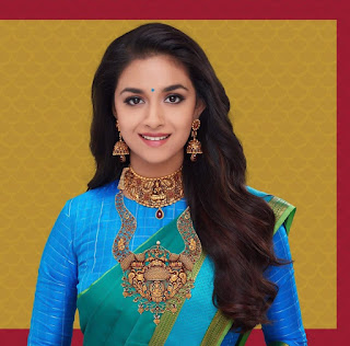 Keerthy Suresh in Blue Saree with Cute Smile for Latest Photo Shoot Image