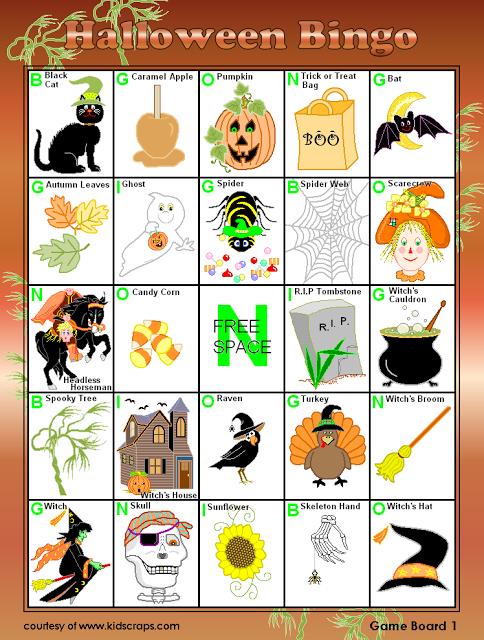 Blank halloween bingo cards templates for kindergarten,kids and students