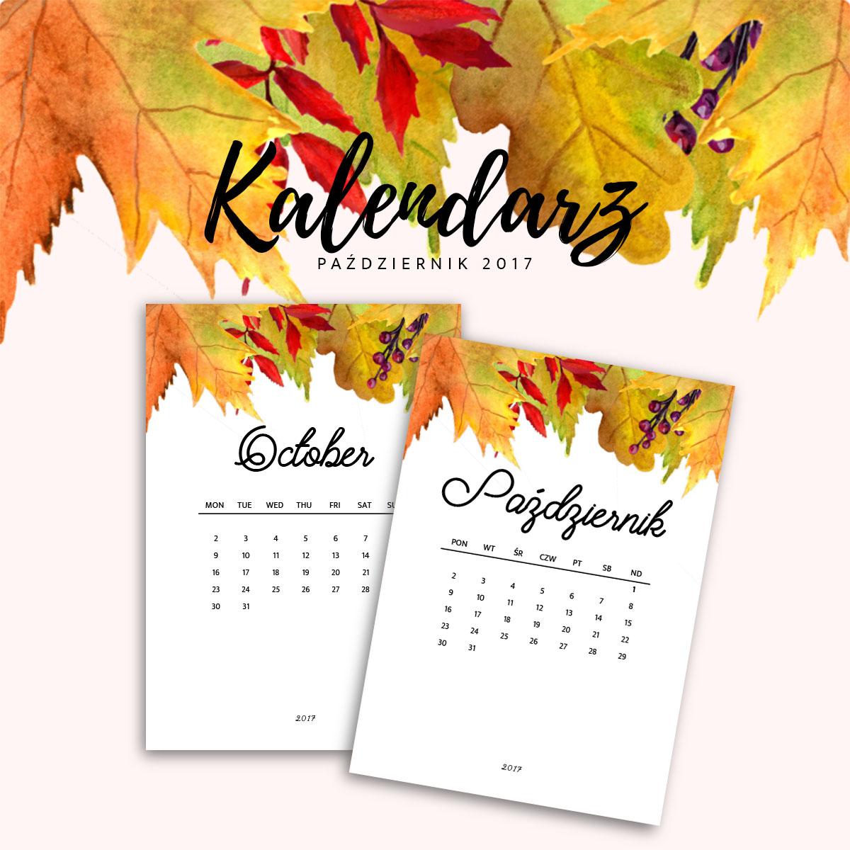 Kalendarz do druku - październik 2017 {do pobrania za darmo}