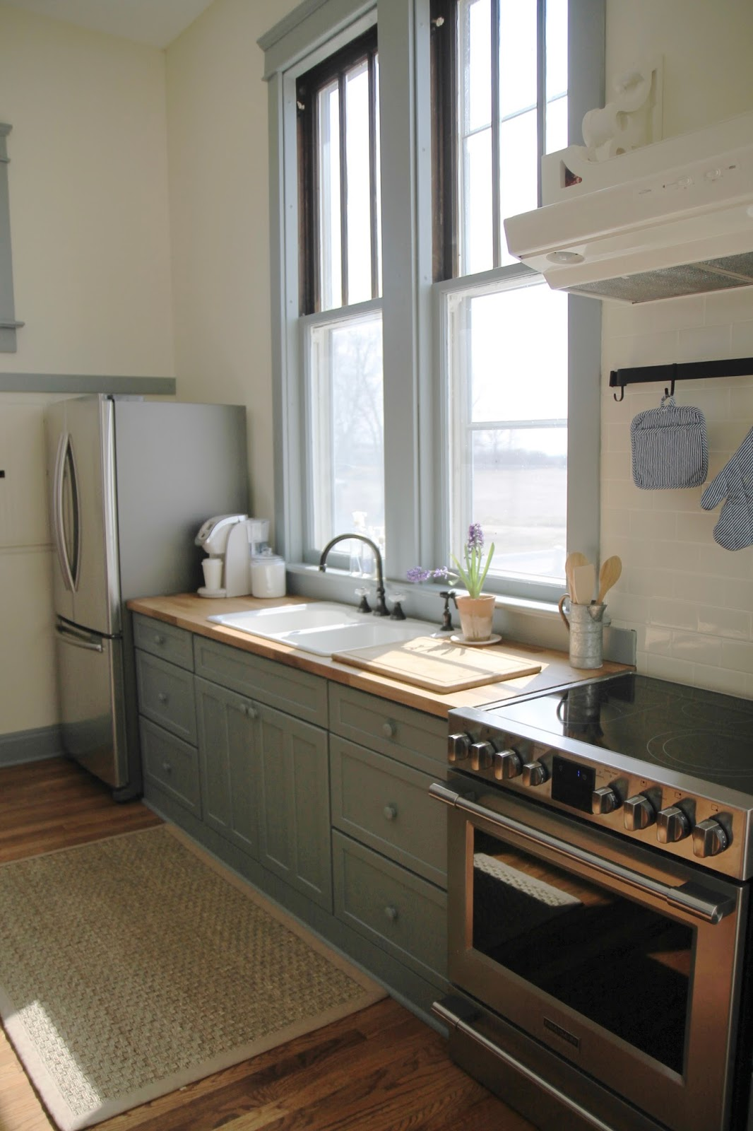 The School House Kitchen | Blue Painted Cabinets