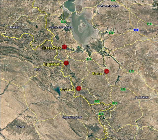 Map Attribute: Areas witnessing Kurdish attacks in the preceding months / Source: Google Maps