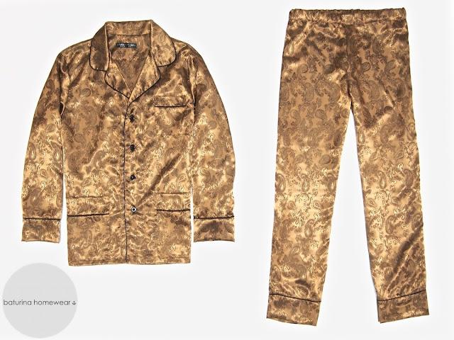 Mens paisley silk jacquard pajamas luxury pyjamas set gold