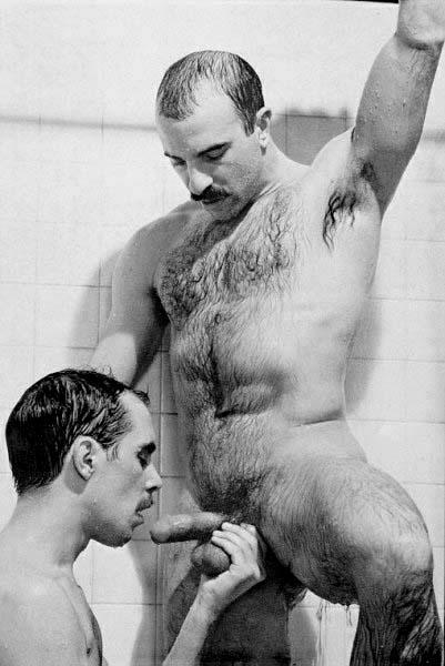 Retro mustache men naked