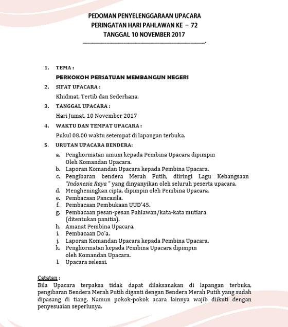 Pedoman Upacara Peringatan Hari Pahlawan 10 November 2017