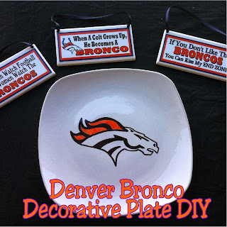Denver Bronco Logo Decorative Plate DIY.  Make a unique and fun plate for your football party