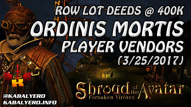 Oridinis Mortis Player Vendors, 400k Row Lot Deeds 💰 Shroud Of The Avatar (Market Watch)
