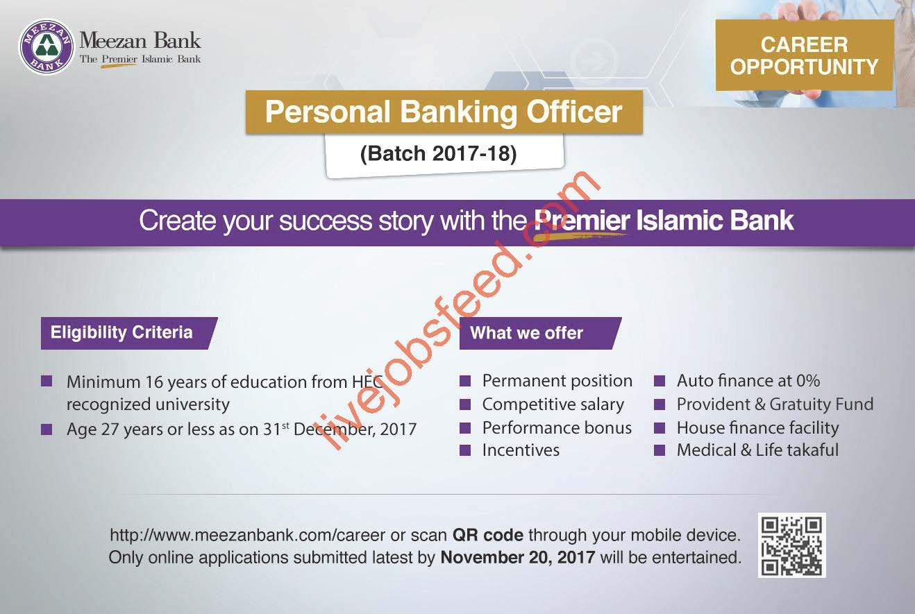 Meezan Bank Career Opportunity Personal Banking Officer Batch 2017 ...