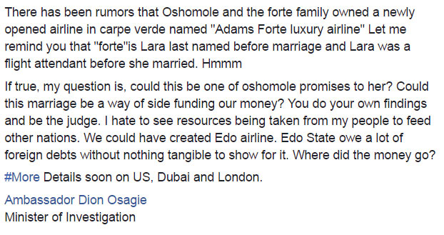 """See what self-acclaimed """"Minister of Investigation"""" wrote about Iara Oshiomhole"""
