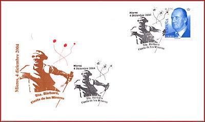 Sobre con matasellos de Santa Bárbara, fiesta de los Mineros, Grucomi, Mieres 2004