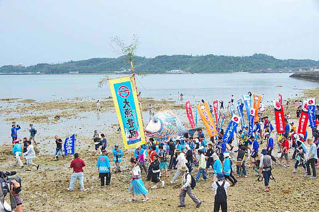 beach, shore, sea, parade, banners