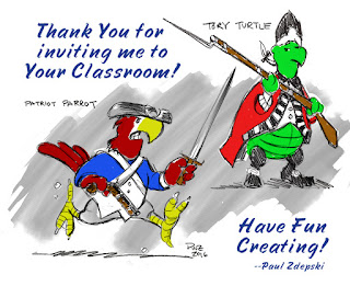 character drawings of Patriot Parrot and Tory Turtle by Paul Zdepski