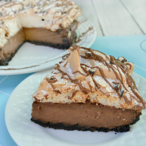 Chocolate Meringue Pie ~ This Chocolate Meringue Pie has a smooth, silky, almost ganache-like filling, which is to-die-for delicious ! And the Meringue topping is also a bit unusual, but in a divine kind of way!