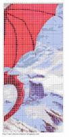 Красный дракон в горах схема вышивки в цветах