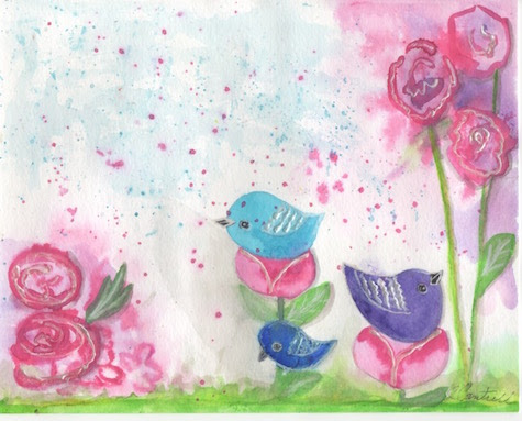Watercolor Birds and Flowers