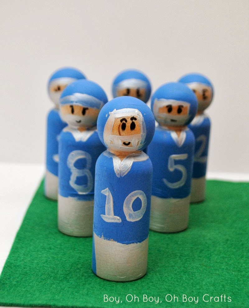 Handmade Peg Baskets : Handmade gifts for boys football player peg dolls