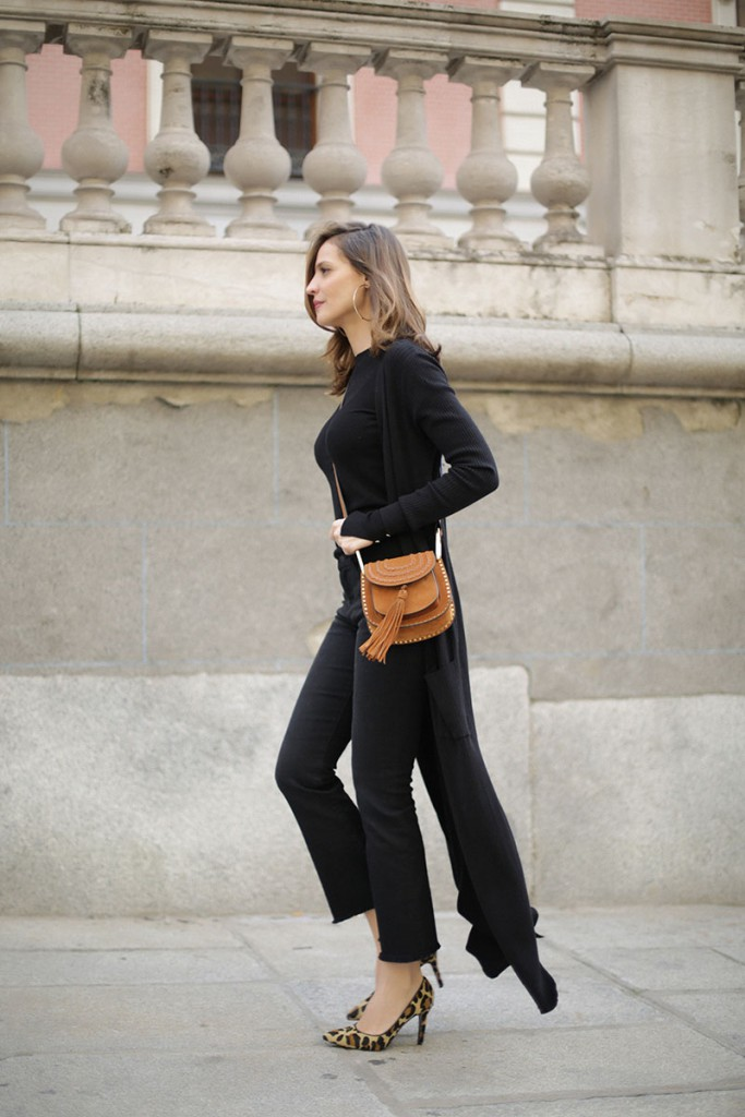 Cool Chic Style Fashion | Long Knitted Jacket and Leopard Print Heels by Style Lovely