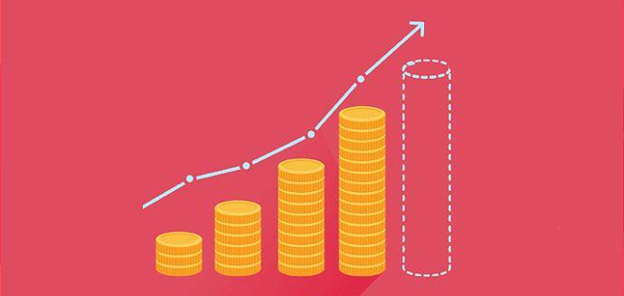 moedas empilhadas formando um gráfico